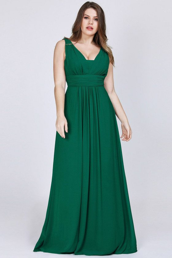 Elegant Vneck Plus Size Green Evening Dress For Women - EP08110DG16