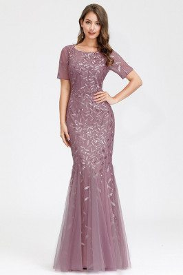 Orchid Mermaid Sequined Formal Party Dress With Short Sleeves - EZ07707OD