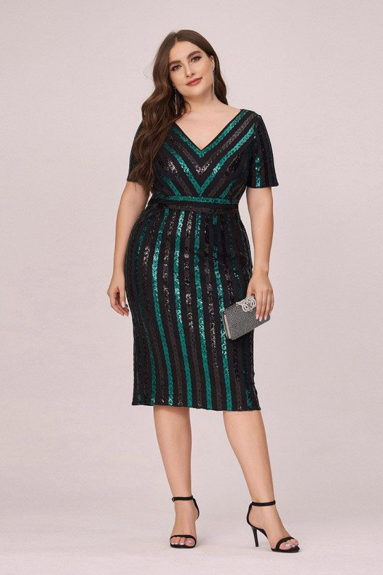 Plus Size Sequined Bodycon Cocktail Party Dress With Short Sleeves