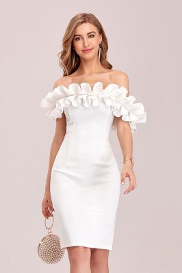 Elegant White Off Shoulder...