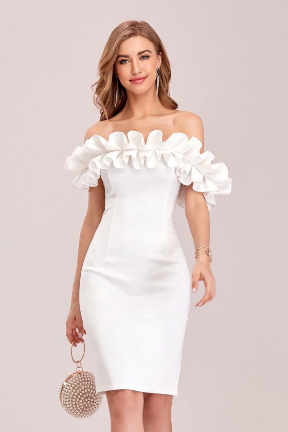 Elegant White Off Shoulder Bodycon Party Dress With Ruffles