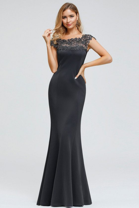 Deep Grey Mermaid Long Evening Dress With Lace Cap Sleeves - EP00879DY