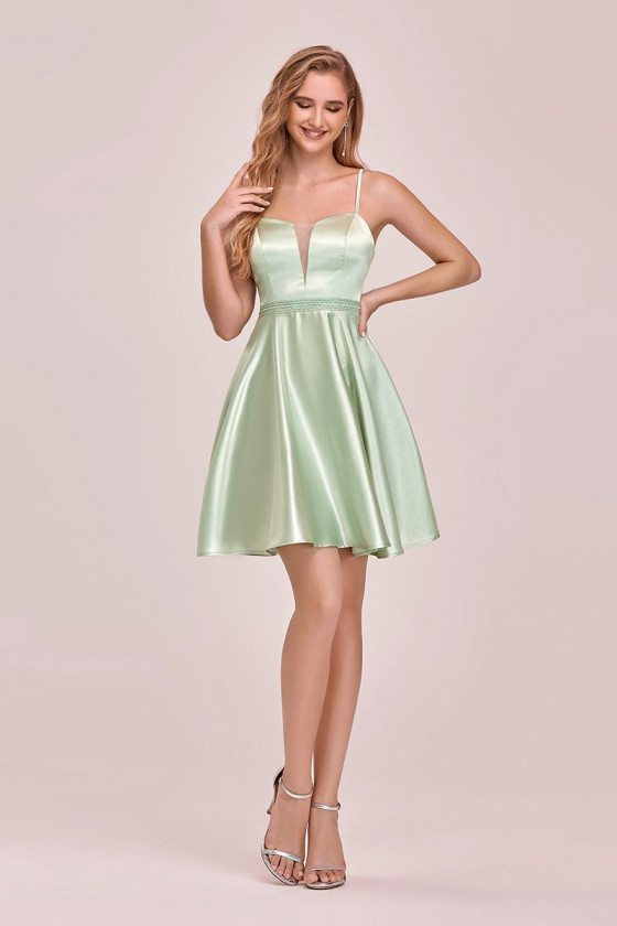 Lovely Simple Satin Short Prom Dress With Beaded Waist - EP03117MG