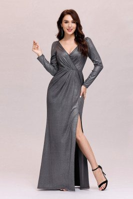 Simple Vneck Grey Long Evening Dress With Split Long Sleeves - EP00499GY