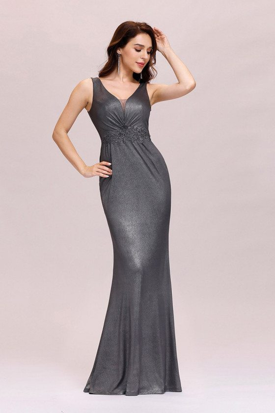 Grey Vneck Fishtail Evening Dress For Party - EP00498GY