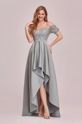 Grey High Low Sequins Satin Fun Prom Dress With Sleeves - EP00349GY