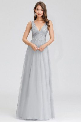 Grey Vneck Sequined Vneck Simple Prom Dress For Less - EP00881GY