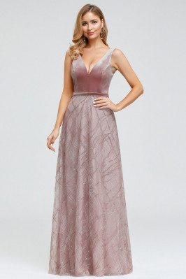 Purple Orchid Embroidery Lace Velvet Evening Dress Sleeveless - EP00883OD