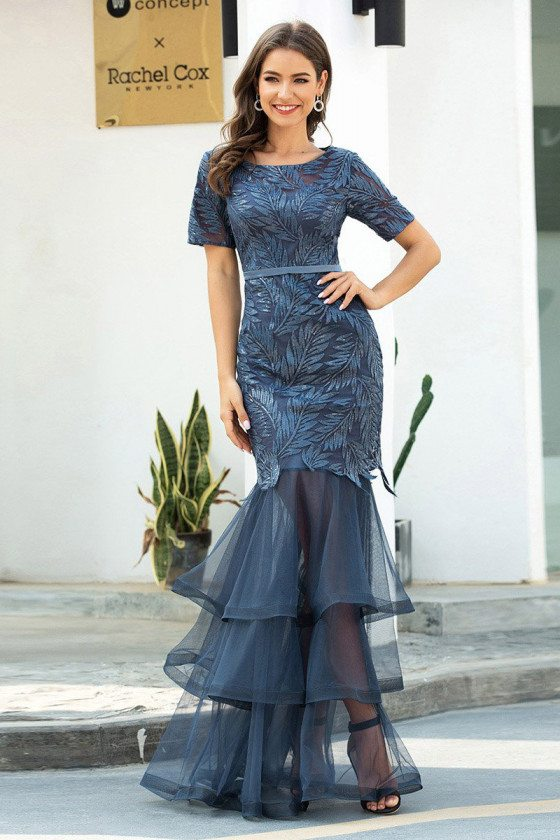 Dusty Navy Layered Mermaid Evening Dress With Lace Short Sleeves
