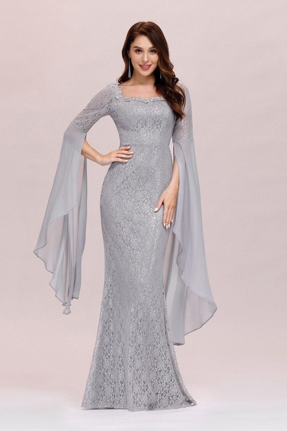 Grey Lace Mermaid Evening Prom Dress With Cape Sleeves - EP00476GY