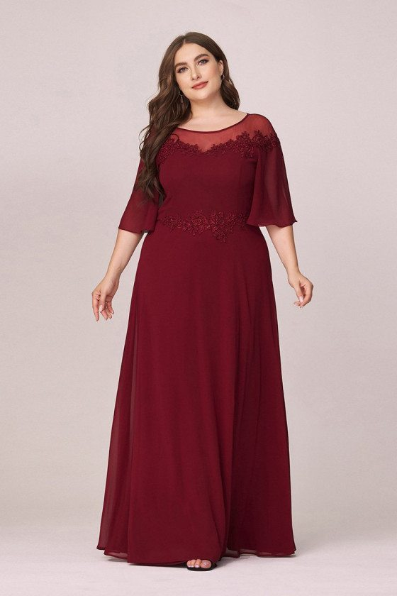 Plus Size Burgundy Comfy Chiffon Evening Dress With Puffy Sleeves - EP00473BD16
