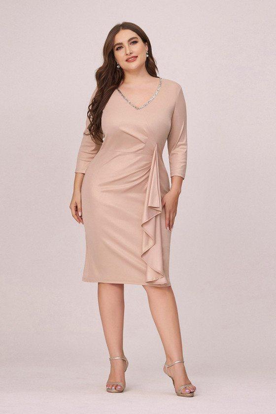 Elegant Plus Size Vneck Blush Wedding Party Dress With Sleeves - EP00468BH16
