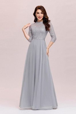 Modest Grey Lace Aline Evening Dress Chiffon With 3/4 Sleeves - EP00475GY
