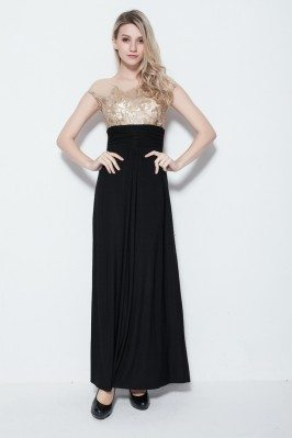 Black And Gold Embroidery Long Party Dress