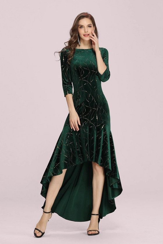 Modest Velvet Green High Low Party Dress With Sequins Sleeves - EP00472DG