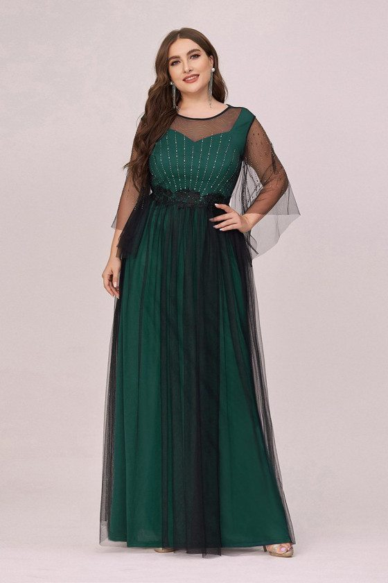 Plus Size Green Tulle Long Prom Dress With Puffy Sleeves - EP00489DG16