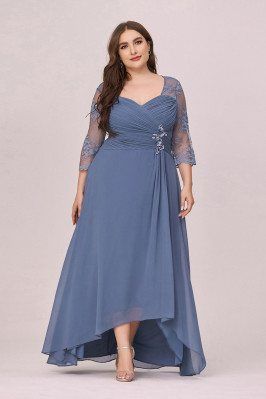 Dusty Navy Chiffon Plus Size Ruched Party Dress With Lace Sheer Sleeves - EP00462DN16