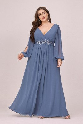 Plus Size Vneck Dusty Navy Chiffon Prom Dress With Long Lantern Sleeves - EP00461DN16