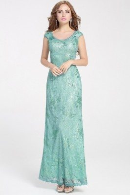 Mint Lace Long Dress Formal