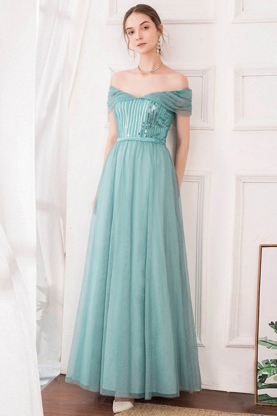 Dusty Blue Off Shouler Maxi Long Sequin Prom Dress With Sequins - EP00860DB