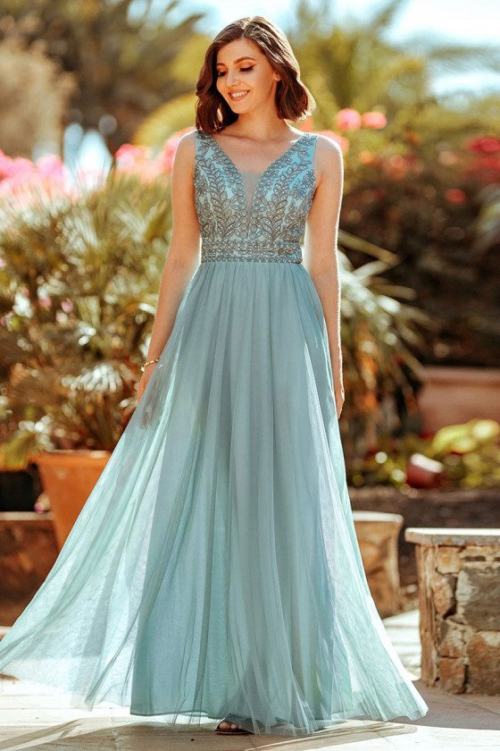 Dusty Blue Aline Tulle Vneck Long Bridesmaid Dress With Beading