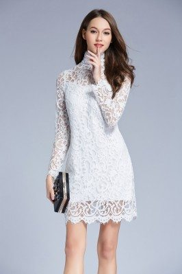 High Neck Little White Lace Bodycon Dress