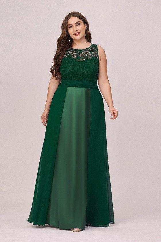 Plus Size Dark Green Chiffon With Lace Evening Dress