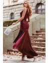 Burgundy Velvet Sequins High Low Evening Party Dress With Sequins - EP00482BD