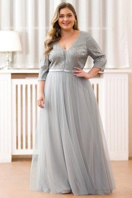 Modest Vneck Sequined Aline Long Evening Dress With Half Sleeves - EP00878GY