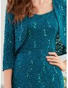 Teal Mermaid Lace Tea Length Wedding Party Dress With Jacket - EP00426TE