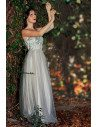 Romantic Grey Tulle Wedding Bridesmaid Dress With Sequins Straps - EP00442GY