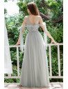 Grey Illusion Neckline Tulle Cheap Bridesmaid Dress With Sequins - EP00441GY