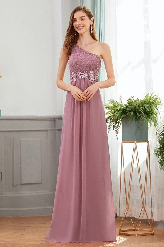 Orchid Purple One Shoulder Chiffon Wedding Party Dress With Appliques - EP00536OD