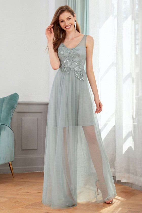 Grey See Through Tulle Vneck Wedding Guest Dress With Appliques - EP00436GY