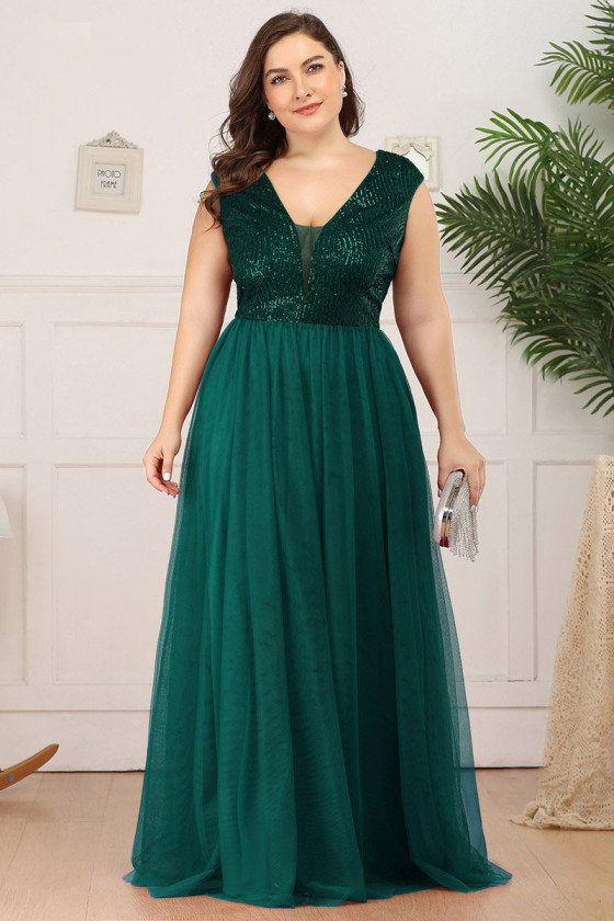 Plus Size Vneck Green Tulle Evening Prom Dress With Sequins - EP00983DG16