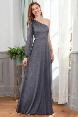 Goddess One Long Sleeved Grey Formal Dress With Bling - EP00418GY