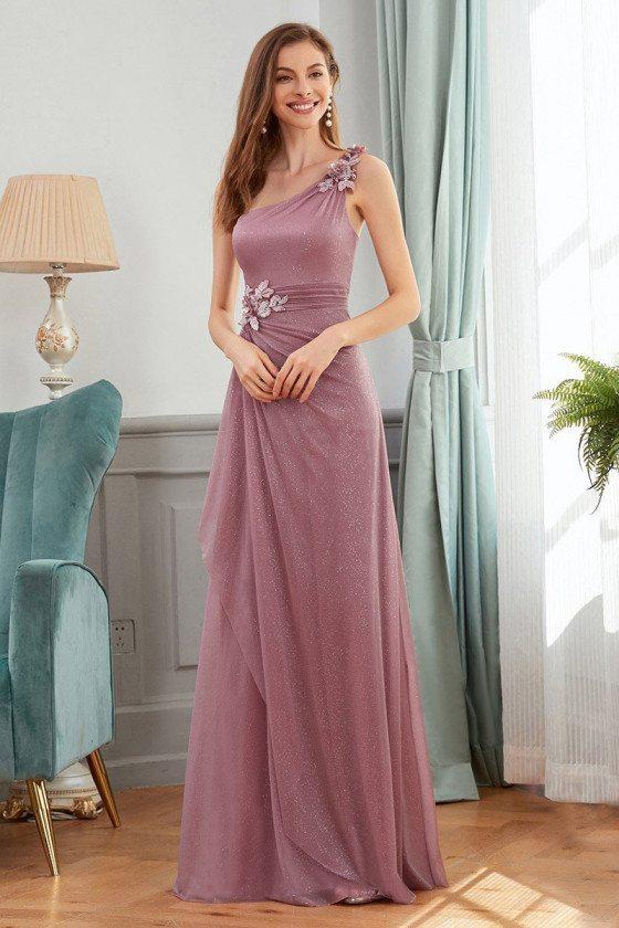 Bling Purple Elegant Wedding Party Dress With Ruffles Flowers - EP00419OD