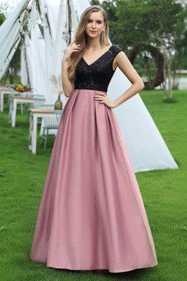 Black Sequins And Purple Aline Cheap Prom Dress Vneck - EP00423OD