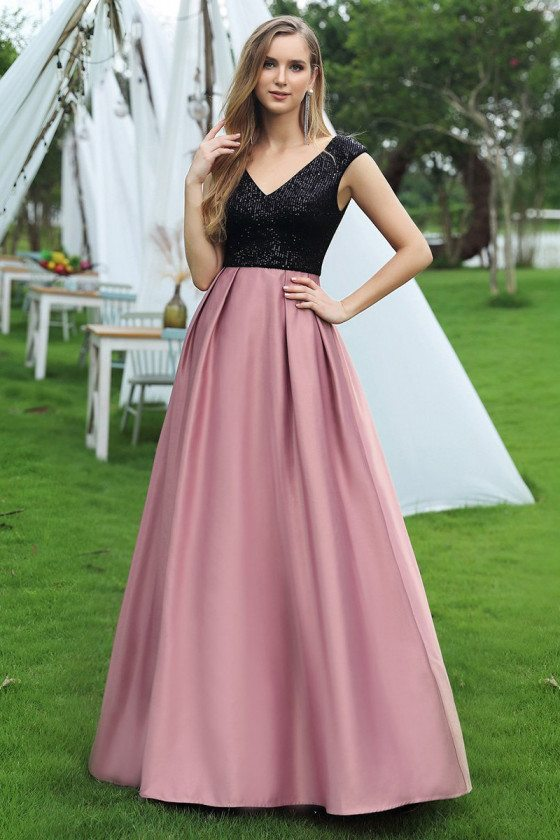 Black Sequins And Purple Aline Cheap Prom Dress Vneck