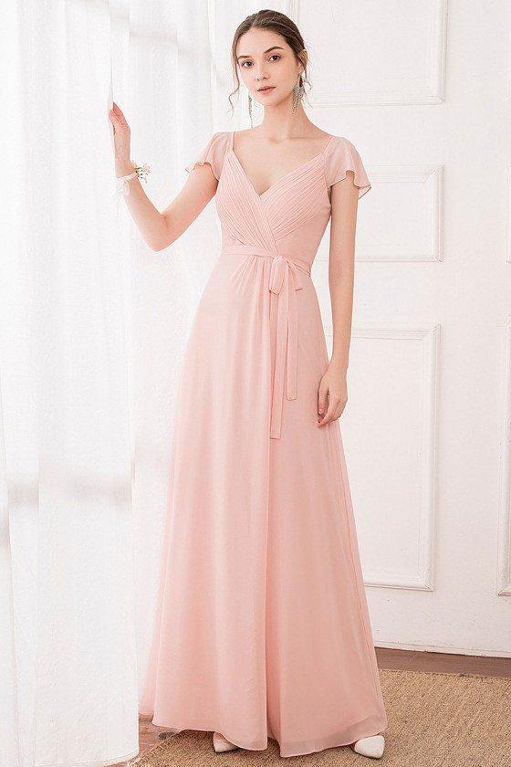 Simple Pink Vneck Long Bridesmaid Dress With Sash Ruffle Sleeves
