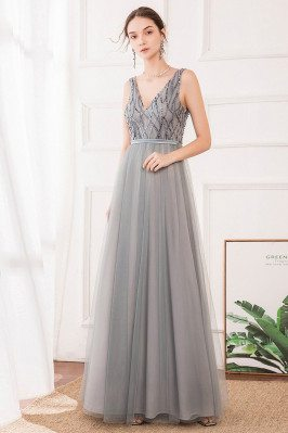 Grey Vneck Long Tulle Prom Dress With Sequins For Teens - EP00717GY