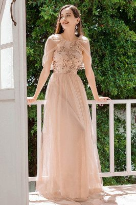 Blush Aline Tulle Long...