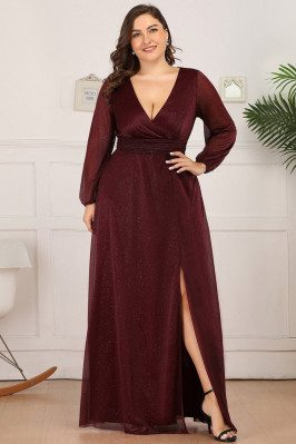 Plus Size Burgundy Vneck...