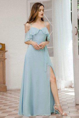 Sky Blue Chiffon Gorgeous Bridesmaid Dress With Split - EP00429BL