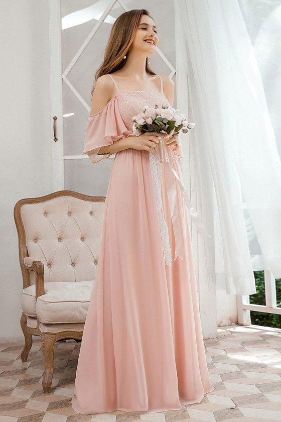 Beautiful Pink Chiffon Long Bridesmaid Dress With Ruffles Sleeves