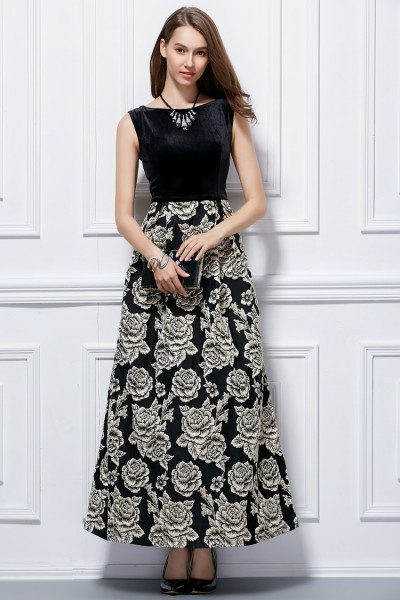 Black And White Flowers Long Dress