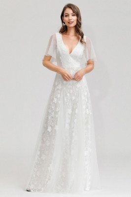 White Aline Tulle Vneck Cheap Wedding Dress With Tulle Sleeves - EP00723WH