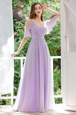 Pleated Lavender Chiffon Bridesmaid Dress With Ruffles Sleeves - EP00430LV