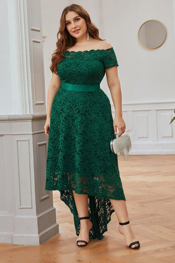 Green Aline Plus Size Lace High Low Evening Party Dress With Sleeves - EP00407DG16