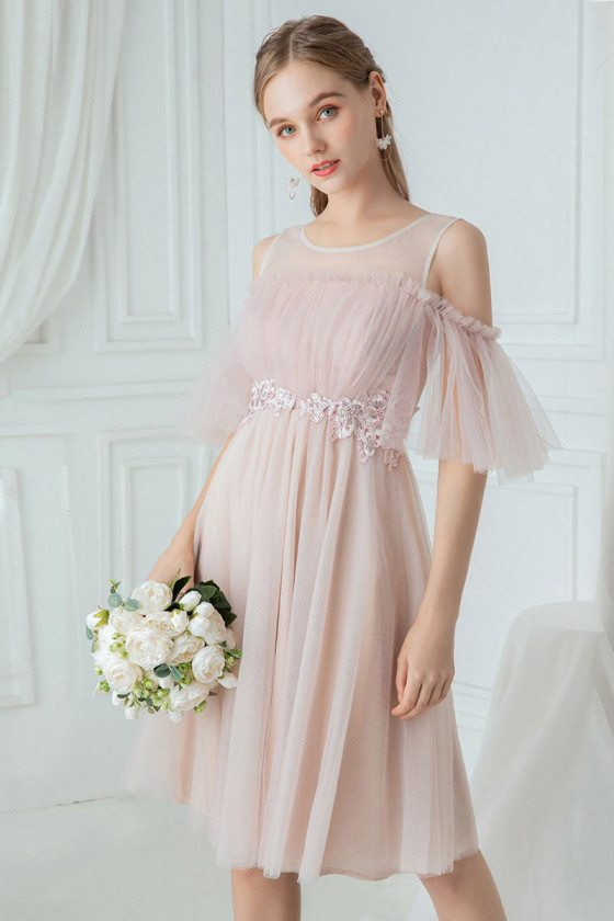 Pink Tulle Pretty Knee Length Bridesmaid Dress With Cold Shoulder